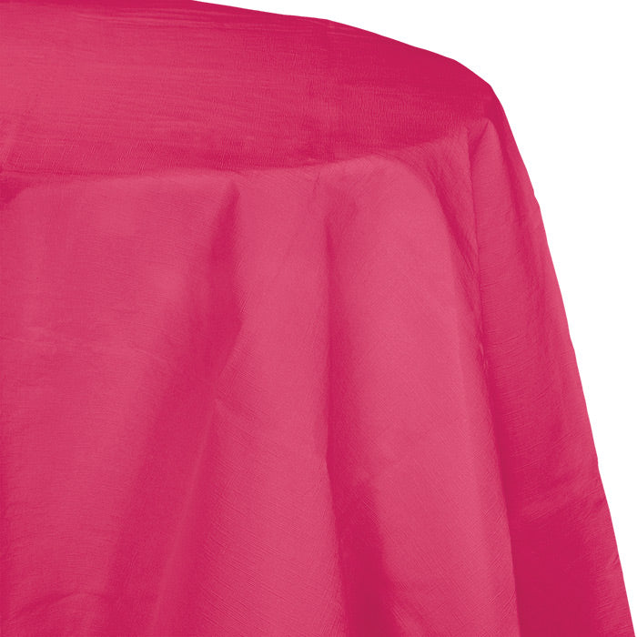 "Hot Magenta Tablecover, Octy Round 82"" Polylined Tissue by Creative Converting"