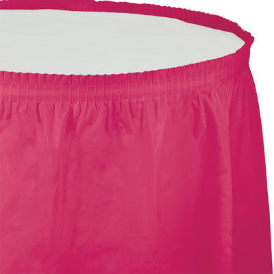 "Hot Magenta Plastic Tableskirt, 14' X 29"" by Creative Converting"