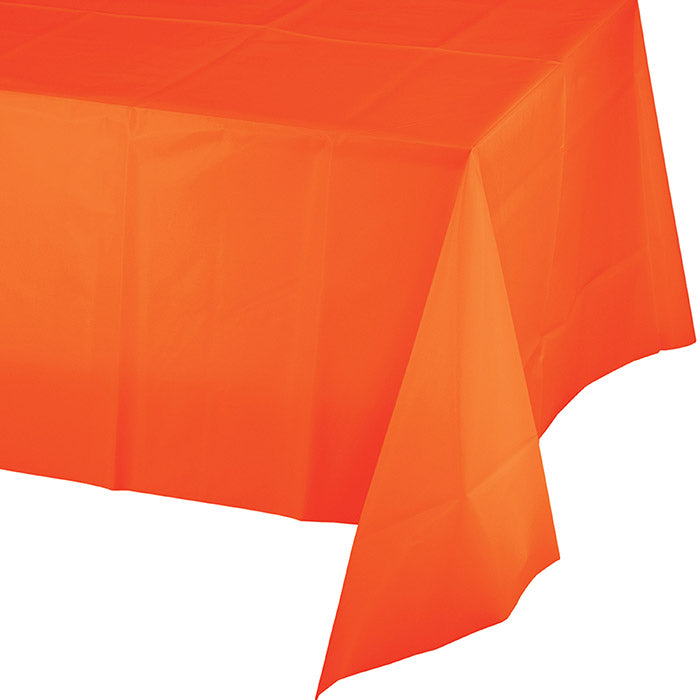 "Sunkissed Orange Plastic Tablecover 54"" X 108"" by Creative Converting"