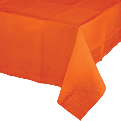"Sunkissed Orange Tablecover 54""X 108"" Polylined Tissue by Creative Converting"