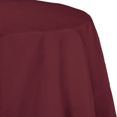 "Burgundy Tablecover, Octy Round 82"" Polylined Tissue by Creative Converting"