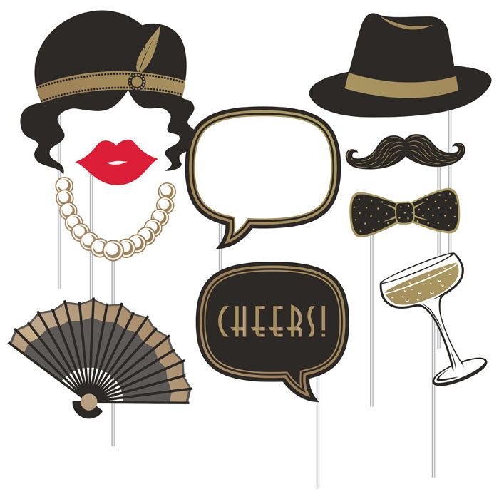 Roaring 20S Photo Booth Props, Pack Of 10 by Creative Converting
