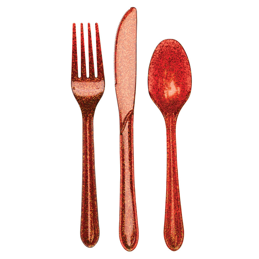 Glitz Red Plastic Cutlery Set, 24 ct by Creative Converting