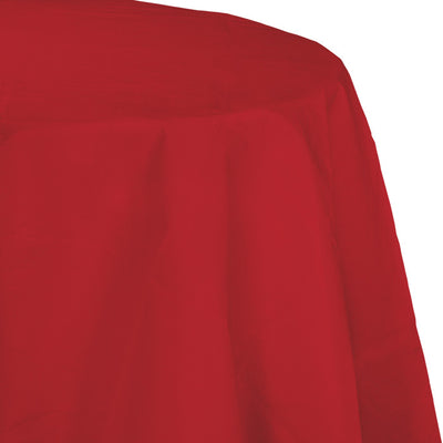 "Classic Red Tablecover, Octy Round 82"" Polylined Tissue by Creative Converting"