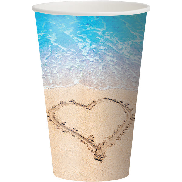 Beach Love Hot/Cold Paper Paper Cups 12 Oz., 8 ct by Creative Converting
