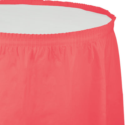 "Coral Plastic Tableskirt, 14' X 29"" by Creative Converting"