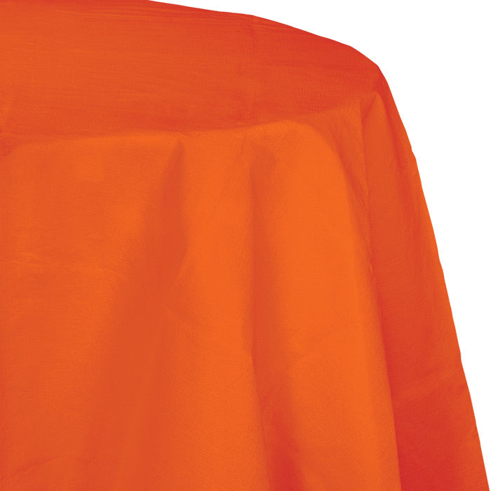 "Sunkissed Orange Tablecover, Octy Round 82"" Polylined Tissue by Creative Converting"