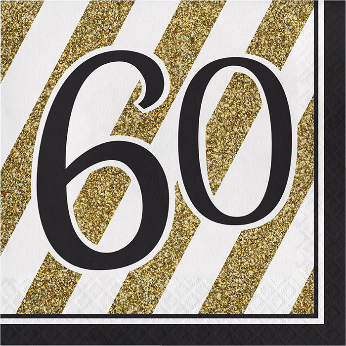 Black And Gold 60th Birthday Napkins, 16 ct by Creative Converting