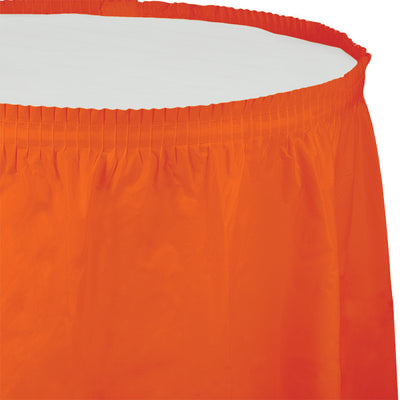 "Sunkissed Orange Plastic Tableskirt, 14' X 29"" by Creative Converting"