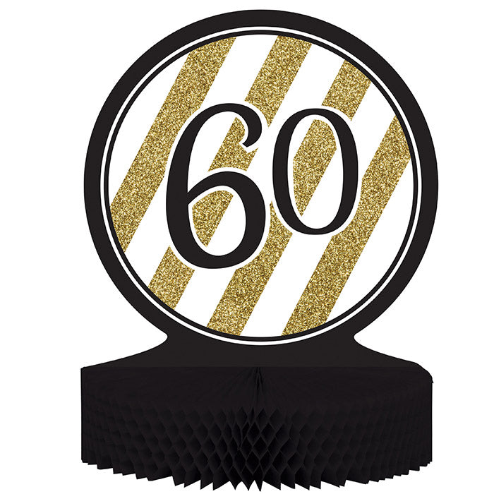 Black And Gold 60th Birthday Centerpiece by Creative Converting