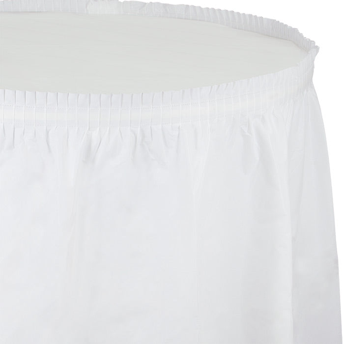 "White Plastic Tableskirt, 14' X 29"" by Creative Converting"