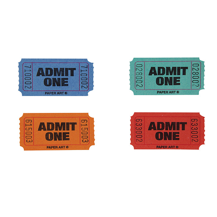 Red/Blue/Orange/Green Admit One Ticket Roll by Creative Converting
