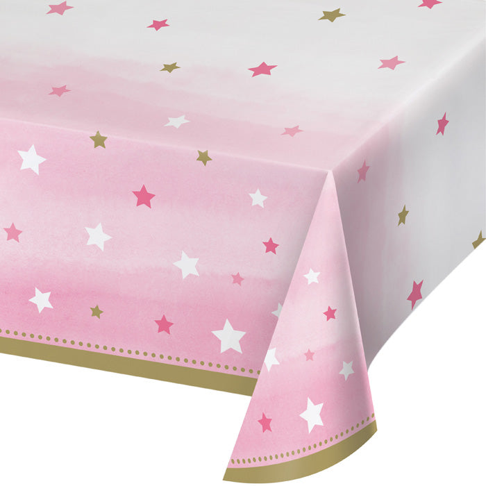 "One Little Star - Girl Plastic Tablecover All Over Print, 54"" X 102"" by Creative Converting"