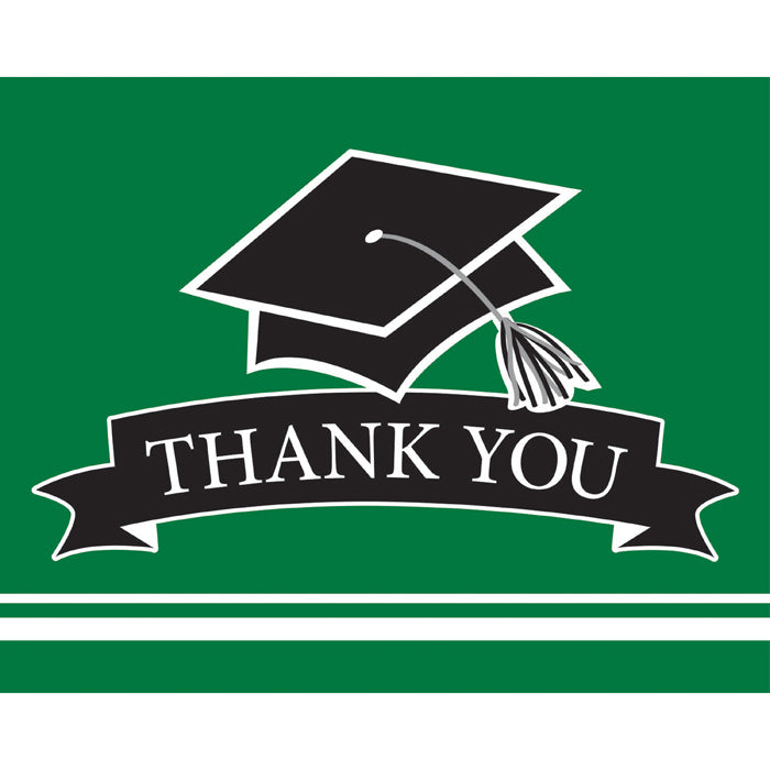 Graduation School Spirit Green Thank You Notes, 25 ct by Creative Converting