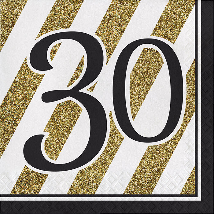 Black And Gold 30th Birthday Napkins, 16 ct by Creative Converting