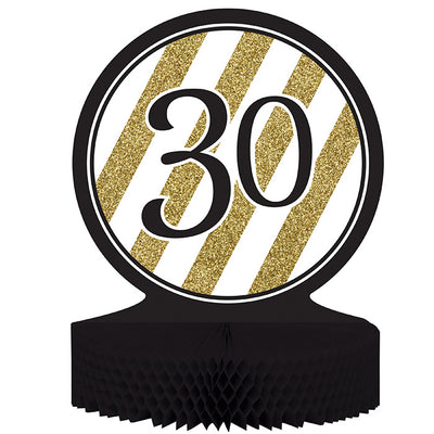 Black And Gold 30th Birthday Centerpiece by Creative Converting