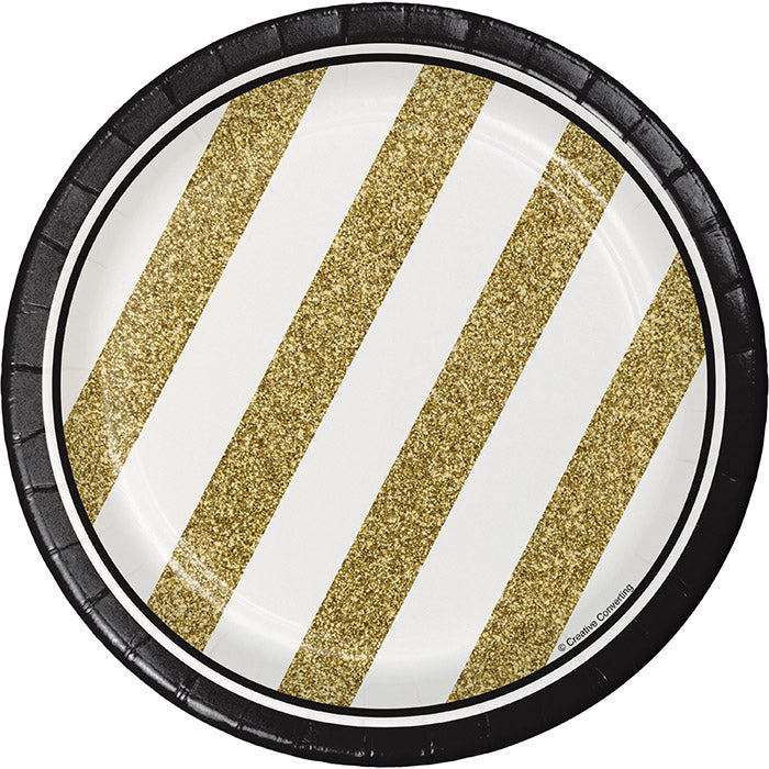 Black And Gold Dessert Plates, 8 ct by Creative Converting