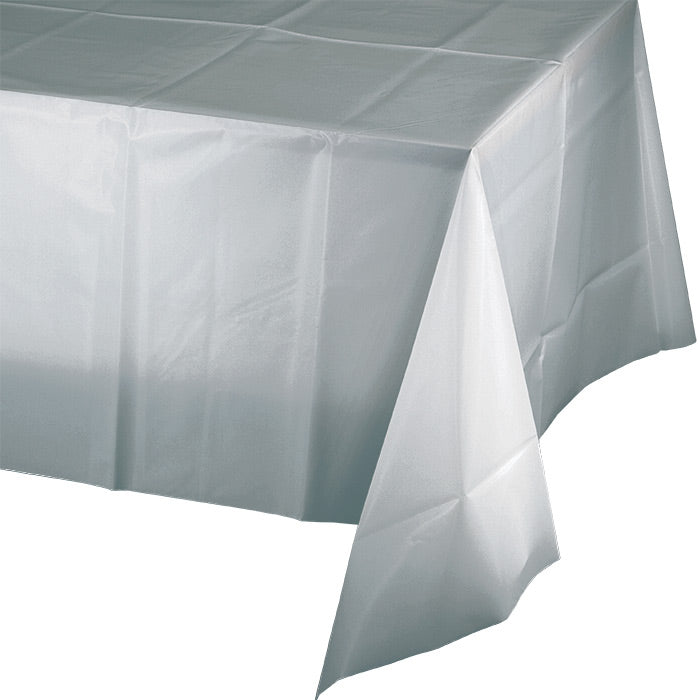 "Shimmering Silver Tablecover Plastic 54"" X 108"" by Creative Converting"