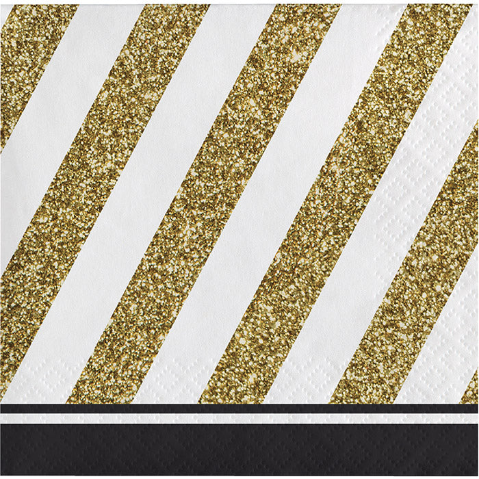 Black & Gold Beverage Napkin, 3 Ply, 16 ct by Creative Converting