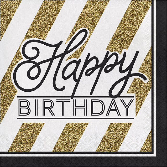 Black And Gold Birthday Napkins, 16 ct by Creative Converting