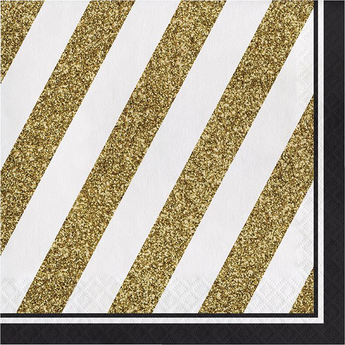 Black And Gold Napkins, 16 ct by Creative Converting