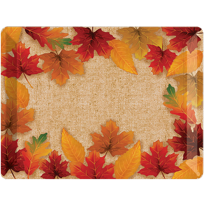Thanksgiving Plastic Tray, 10 X 14, Fall Leaves by Creative Converting