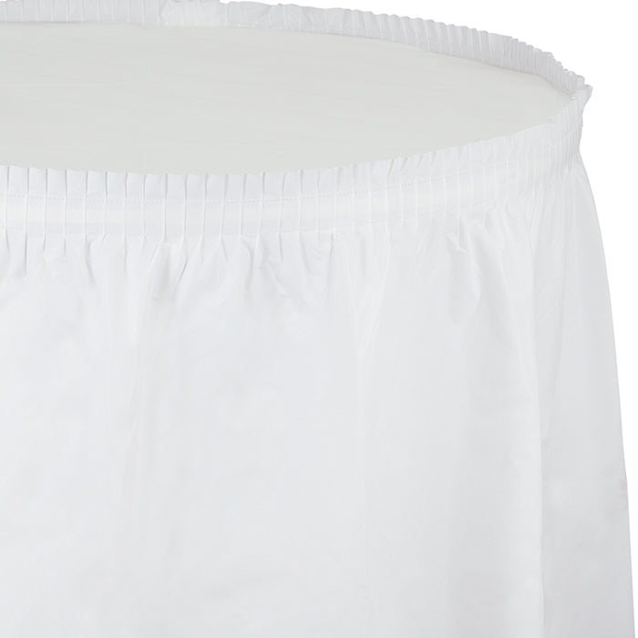 "White Plastic Tableskirt, 21.5' X 29"" by Creative Converting"