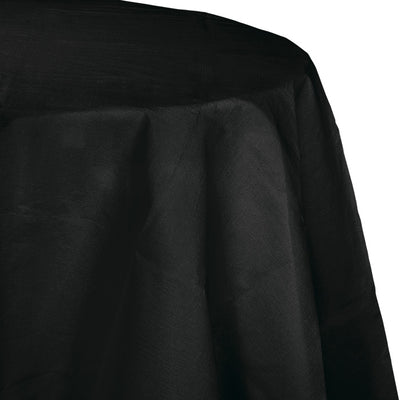 "Black Velvet Tablecover, Octy Round 82"" Polylined Tissue by Creative Converting"