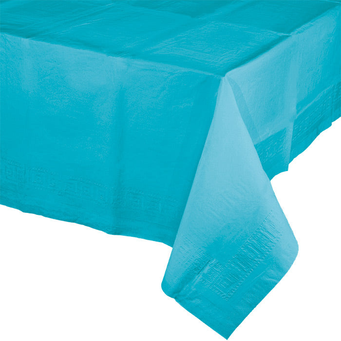 "Bermuda Blue Tablecover 54""X 108"" Polylined Tissue by Creative Converting"
