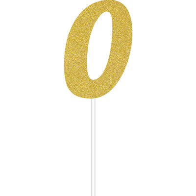 Gold Glitter #0 Cake Topper by Creative Converting
