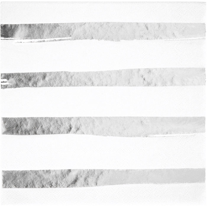 Toc White Silver Foil Luncheon Napkin 3Ply, Foil Stamp Silver, 16 ct by Creative Converting