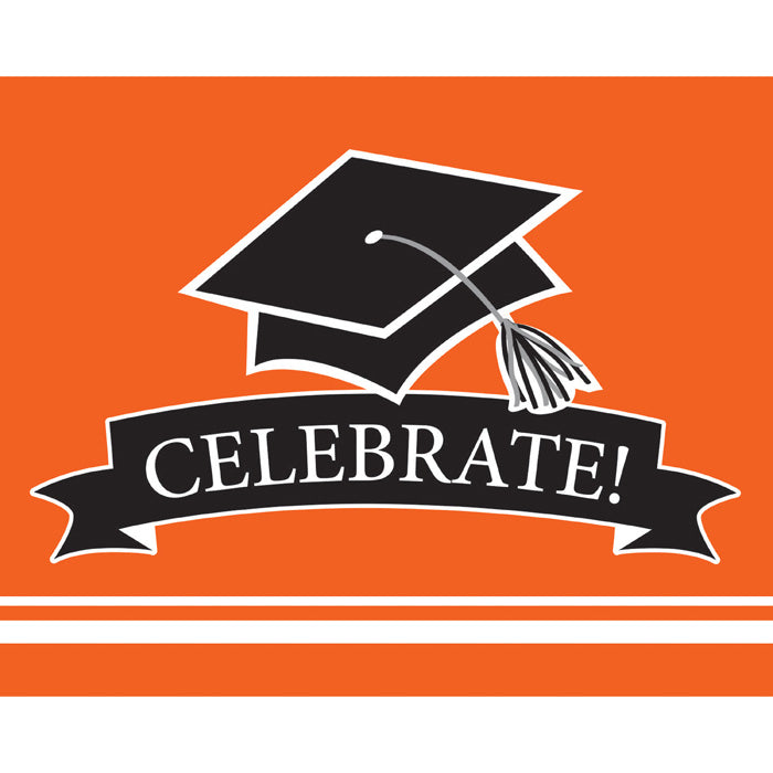 Graduation School Spirit Orange Invitations, 25 ct by Creative Converting