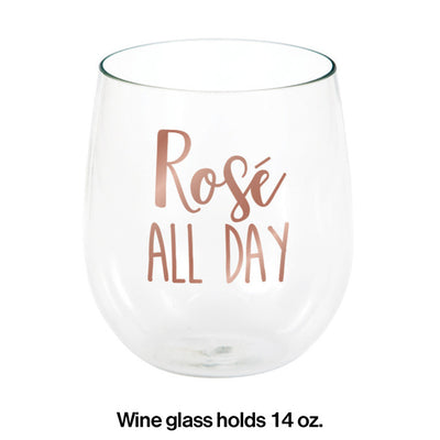 Rose' All Day 14 Oz Stemless Wine Glass Party Decoration