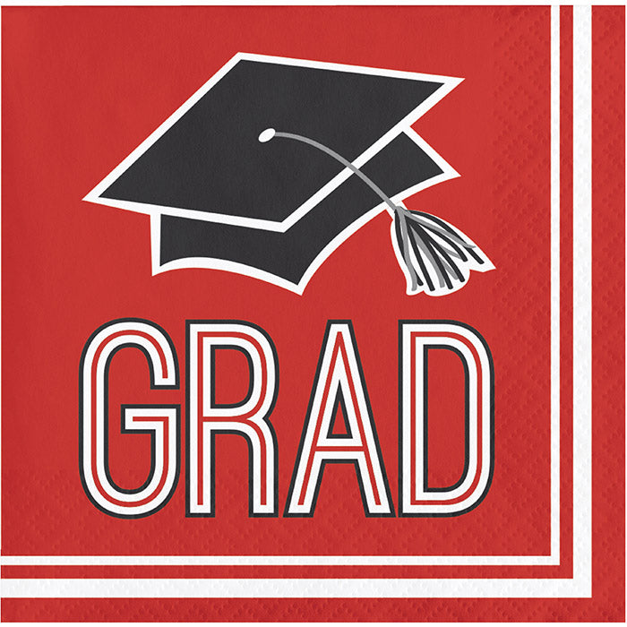 Graduation School Spirit Red Beverage Napkins, 36 ct by Creative Converting