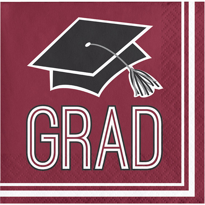 Graduation School Spirit Burgundy Red Beverage Napkins, 36 ct by Creative Converting