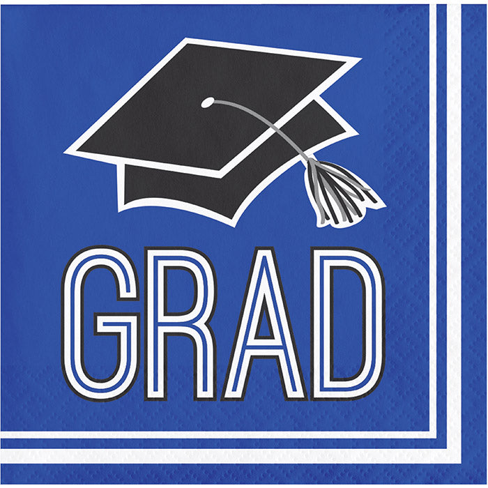 Graduation School Spirit Blue Beverage Napkins, 36 ct by Creative Converting