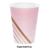 Rose' All Day Hot/Cold Paper Paper Cups 12 Oz., Foil, 8 ct Party Decoration