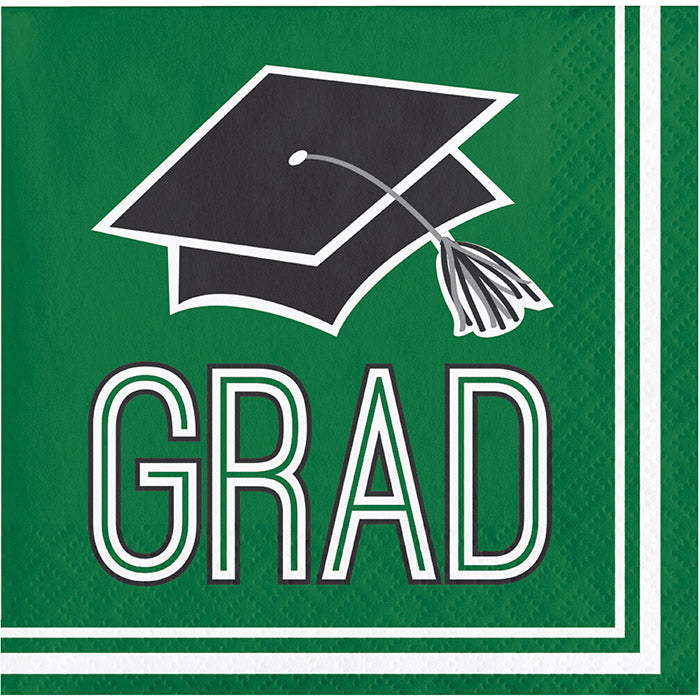 Graduation School Spirit Green Beverage Napkins, 36 ct by Creative Converting