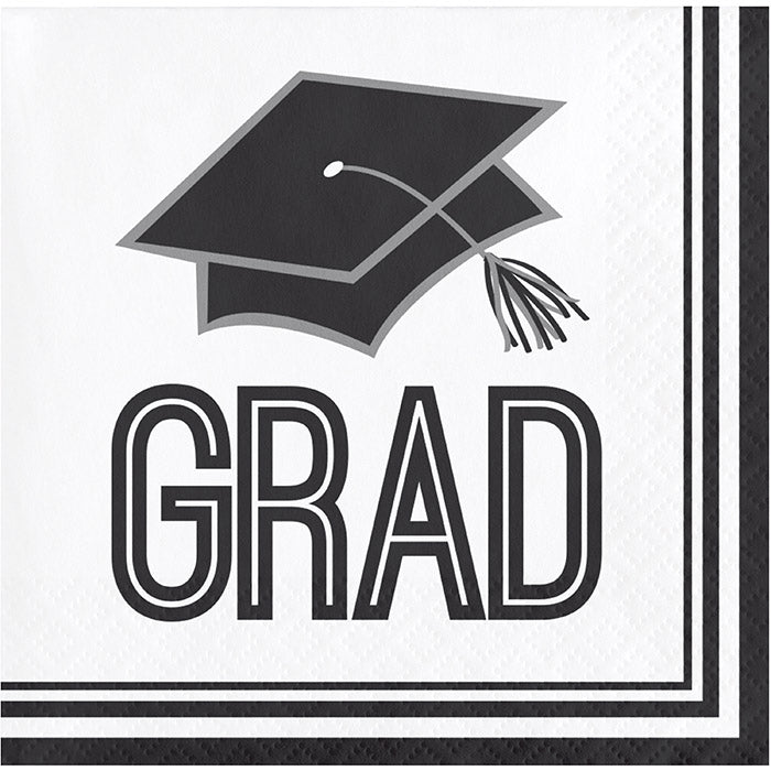 Graduation School Spirit White Beverage Napkins, 36 ct by Creative Converting