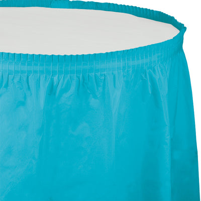 "Bermuda Blue Plastic Tableskirt, 14' X 29"" by Creative Converting"