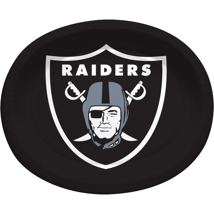 "Oakland Raiders Oval Platter 10"" X 12"", 8 ct by Creative Converting"