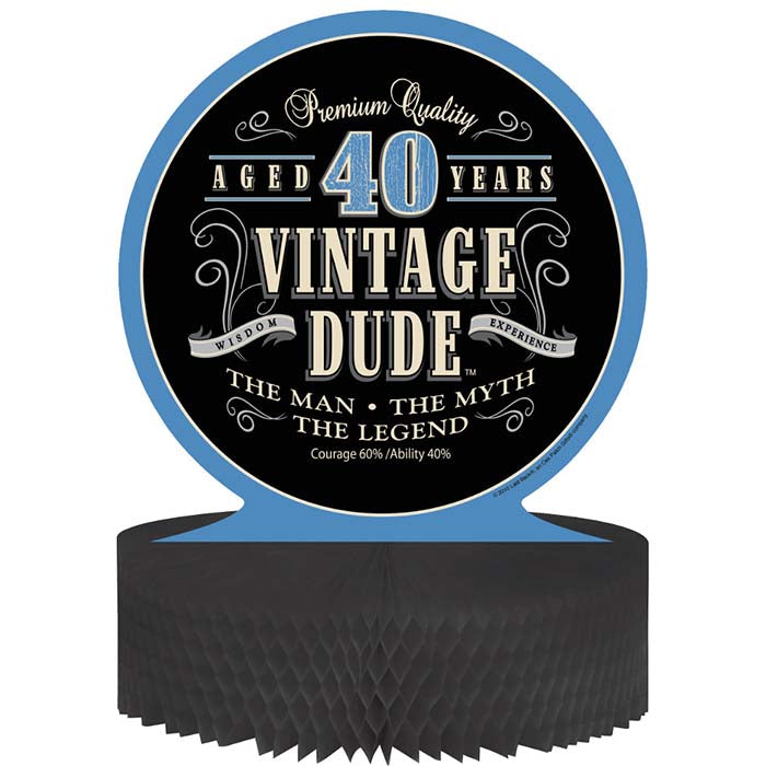 Vintage Dude 40th Birthday Centerpiece by Creative Converting
