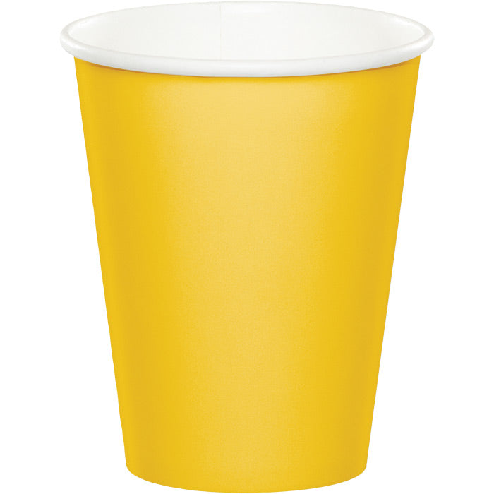 School Bus Yellow Hot/Cold Paper Paper Cups 9 Oz., 24 ct by Creative Converting