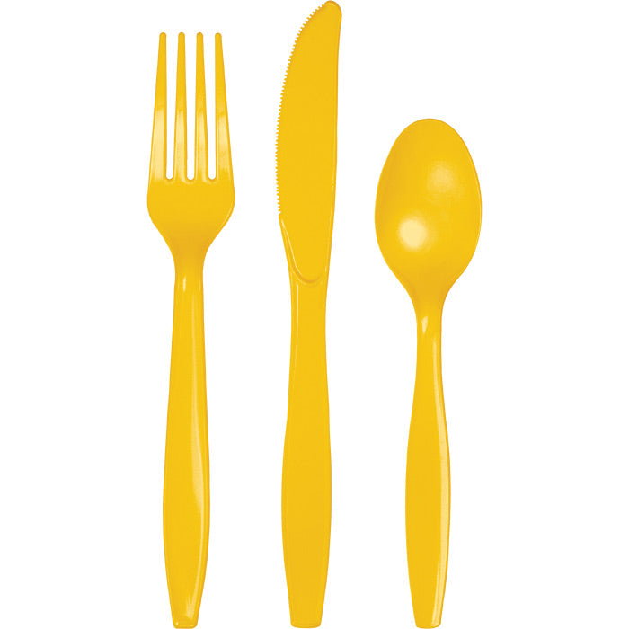School Bus Yellow Assorted Plastic Cutlery, 24 ct by Creative Converting