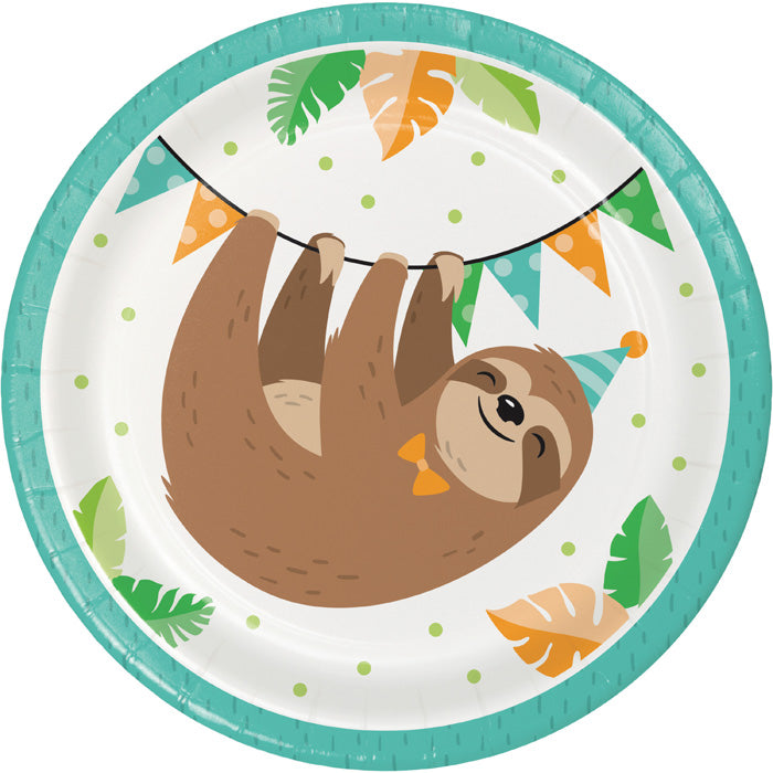 Sloth Party Dessert Plates, Pack Of 8 by Creative Converting