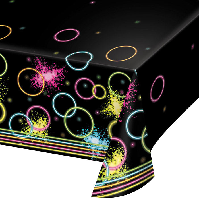 "Glow Party Plastic Tablecover All Over Print, 54"" X 102"" by Creative Converting"