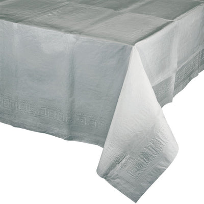 "Shimmering Silver Tablecover 54""X 108"" Polylined Tissue by Creative Converting"