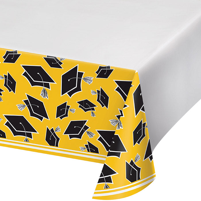 Graduation School Spirit Yellow Tablecloth by Creative Converting