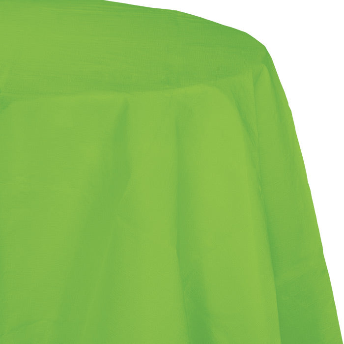 "Fresh Lime Tablecover, Octy Round 82"" Polylined Tissue by Creative Converting"