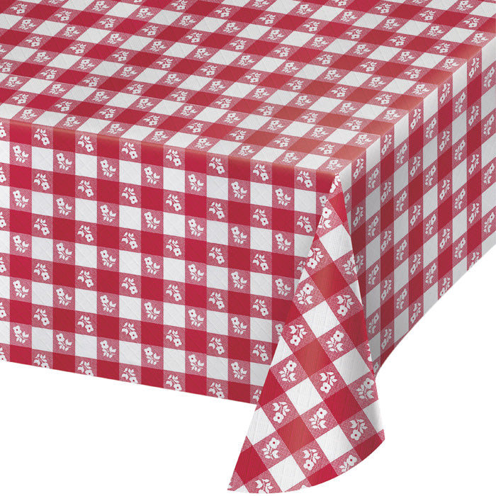 "Red Gingham Paper Tablecloth, Polylined Tissue 54"" X 108"" by Creative Converting"
